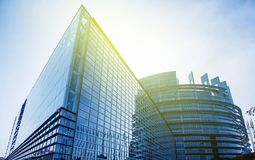 Seat of the European Parliament in Strasbourg,. France early in the morning Stock Photography