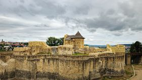 Seat Fortress of Suceava in Romania. Panoramic view of the Seat Fortress of Suceava or Suceava Citadel under the cloudy sky, Romania Stock Photo