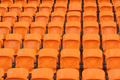 Seat of grandstand in an empty stadium.  Royalty Free Stock Images