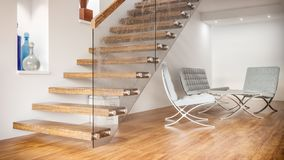 Free Seat Group Under Wooden Stairs - 3D Rendering Stock Photo - 139328460