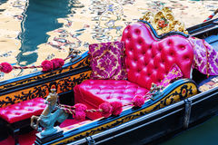 Seat of a historical gondola in Venice Stock Photography