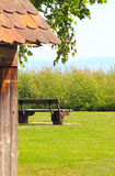 Seat at a lake, favorite place. Wood Seat at a lake, favorite place stock photos