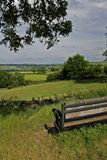 Seat and lansdscape on the Tissington trail, Peak district Stock Photo