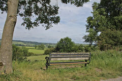 Seat and lansdscape on the Tissington trail, Peak district Royalty Free Stock Images