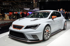 SEAT Leon Cup Racer. Car pictured at the Geneva motor show in Switzerland, 2014 stock photos