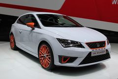 2014 Seat Leon Cupra the Geneva Auto Salon. Fascinating dynamics, state-of-the-art technology, stunning design matched with compelling efficiency and perfect Royalty Free Stock Photography
