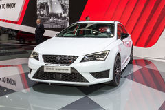 2015 Seat Leon ST Cupra. Geneva, Switzerland - March 4, 2015: 2015 Seat Leon ST Cupra presented on the 85th International Geneva Motor Show Royalty Free Stock Photo