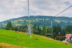 Seat lift in the mountain in Zakopane, Poland. On a summer day royalty free stock photo
