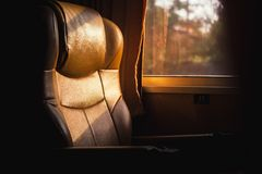 The seat no people. On the train. Empty chair Stock Photography