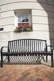 Seat outside building, Bath, Maine. Stock Photo