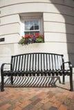 Seat outside building, Bath, Maine. Stock Photo