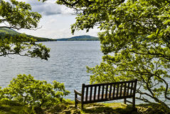 Seat overlooking lake Royalty Free Stock Image