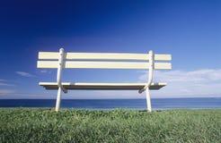 Seat overlooking ocean Victorian coastline Australia Royalty Free Stock Images