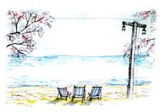Seat pelo oceano na ilustração da noite Imagem de Stock