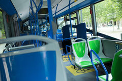 Seat places in modern city bus Stock Photography