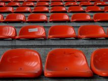 Seat row. Orange seat row in a stadium Royalty Free Stock Image
