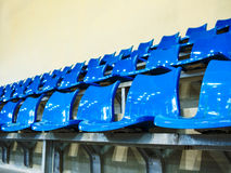 Seat rows installed on indoor sport stedium. Blue seat rows installed on indoor sport stedium Royalty Free Stock Image