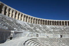Seat rows in the Roman theatre in Aspendos Royalty Free Stock Photography