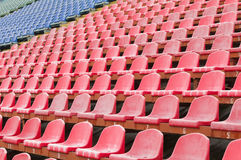 Seat for spectators in the stadium. Located in the geometric pattern Royalty Free Stock Image