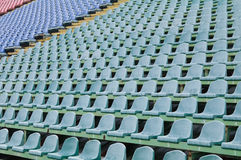 Seat for spectators in the stadium. Located in the geometric pattern Stock Photos