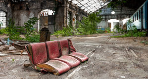 Seat of a train at abandoned depot Royalty Free Stock Image