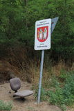 Seat under locality marking and traffic sign, Podkerepušky, Bratislava Royalty Free Stock Images