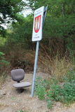 Seat under locality marking and traffic sign, Podkerepušky, Bratislava Royalty Free Stock Photography