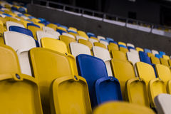 Seat for watch some sport o. Rows of empty blue seats with the numbers Stock Photo