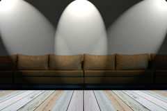 Seat on white wall with lights Stock Image