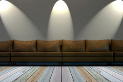 Seat on white wall with lights Stock Photos