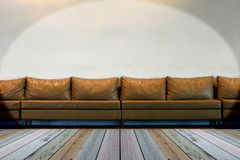 Seat on white wall with lights Royalty Free Stock Photography