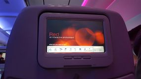 Seatback di Virgin America Immagini Stock