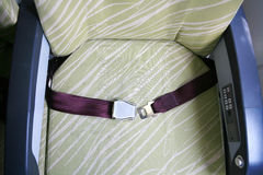 Seatbelt in airplane Stock Photography