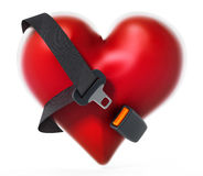 Seatbelt around the red heart. 3D illustration Royalty Free Stock Image