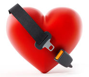 Seatbelt around the red heart. 3D illustration Stock Photo