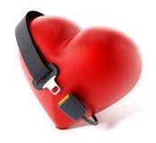 Seatbelt around the red heart. 3D illustration Stock Photos