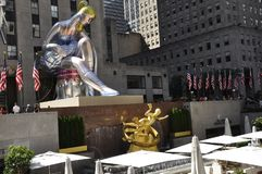 New York City, 2nd July: Seated Ballerina in Rockefeller Plaza from Manhattan in New York City in United States royalty free stock photo
