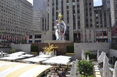 New York City, 2nd July: Seated Ballerina in Rockefeller Plaza from Manhattan in New York City in United States royalty free stock photos