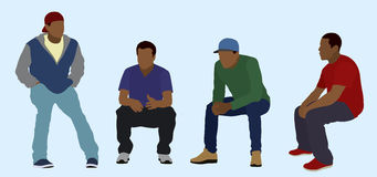 Seated Black Teens. Young Men or Teens Sitting Around Talking Stock Images