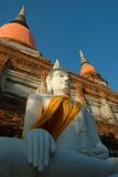 Seated Buddha at Ayutthaya. Buddha found at Wat Yai Chai Mongkol, Ayutthaya, Thailand Royalty Free Stock Photography