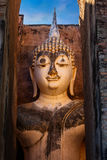 Seated Buddha image at  Wat Si Chum temple in Sukhothai Historical Park in Thailand Royalty Free Stock Photos