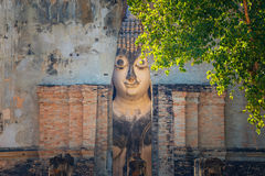 Seated Buddha image at  Wat Si Chum temple in Sukhothai Historical Park in Thailand Stock Photography