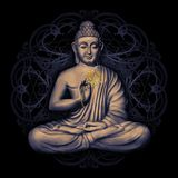 Seated Buddha in a Lotus Pose. Digital art collage combined with cosmic background and with mandala stock illustration