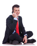 Seated businessman talking on the phone Royalty Free Stock Images