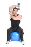 Seated Dumbbell One Arm Triceps Extensions Royalty Free Stock Image