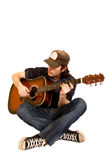 Seated guitarist Royalty Free Stock Photo