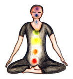Seated in lotus position with chakras. Illustration of a person seated with chakra colors and lights within during meditation and visualization Stock Photo