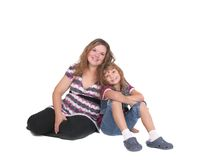 Seated mom and daughter Royalty Free Stock Image