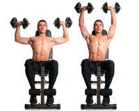 Seated Shoulder Press. Studio composite over white royalty free stock image