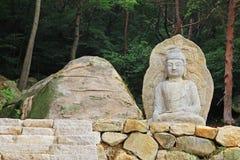 Seated Stone Buddha Statue at Mireuggok of Namsan, Gyeongju Stock Images